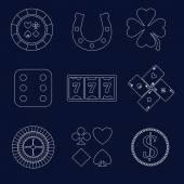 Casino outline design elements — Stock Vector