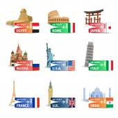 World landmarks ticket set — Stock Vector