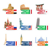 World landmarks ticket set — Cтоковый вектор