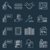 Real estate outline icons — Stock Vector