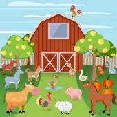 Farm with animals — Stock Vector
