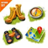 Camping icons set — Stock Vector