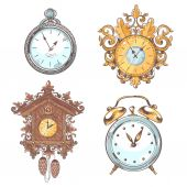 Old vintage clock set — Vecteur