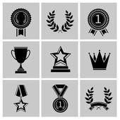 Award icons set black — Stock Vector