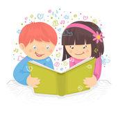 Kids reading book — Stock Vector