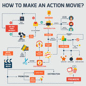 Action movie infographic — Stock Vector