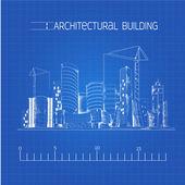 Architectural building blueprint — Stock Vector
