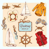 Yachting sketch set — Stock Vector
