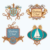 Yachting sketch emblems set — Stock Vector