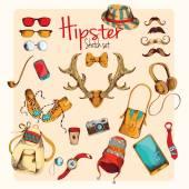 Hipster skizze satz — Stockvektor
