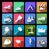 Construction Icons Set Flat — Stock Vector