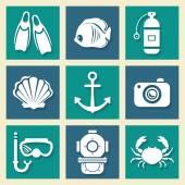 Sea symbols icons et — Stock Vector