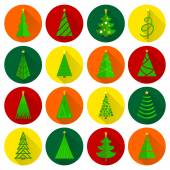 Christmas tree flat round buttons — Stock Vector