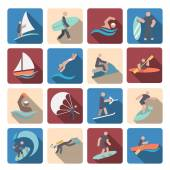 Water sports icons set colored — Stock Vector