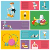 Gym exercises people — Stock Vector
