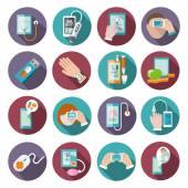 Digital health icons set — Stock Vector