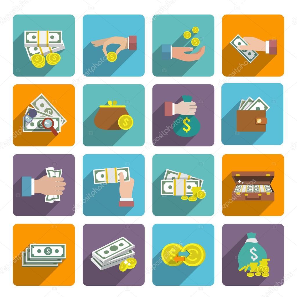 钱的图标集 — 图库矢量图像08