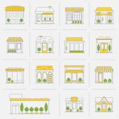 Store building icons set flat line — Vettoriale Stock