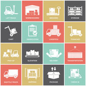 Warehouse icons flat — Stock Vector