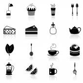 Tea icons set black — Stock Vector