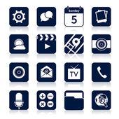 Iconos de las aplicaciones móviles negros — Vector de stock
