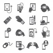 Mobile health icons set black — Stockvector