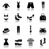 Clothes icons set black — Stock Vector