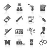 Detective icons set black — Stok Vektör