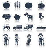 Farm icons set black — Stock Vector