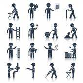 Construction worker icons black — Stock Vector