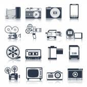 Photo video icons set black — Stock Vector