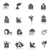 Natural disaster icons black — Stock Vector