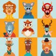 Hipster animals icons flat — Stock Vector #54508303