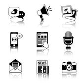 Media icons black and white — Vetorial Stock