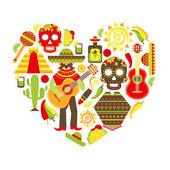 Mexico decorative icons set — Stock Vector