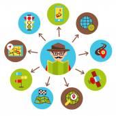 Navigation icons illustration — Stock Vector