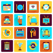 Hotel icons flat set — Stock Vector