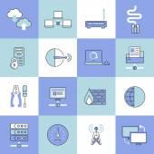 Network icons set flat line — ストックベクタ