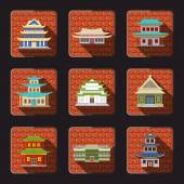 Chinese house icons tile — Stock Vector