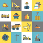 Coal Industry Icons Flat Line — Stock Vector