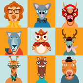 Hipster animals icons flat — Stock Vector