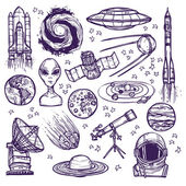Space sketch set — Stock Vector