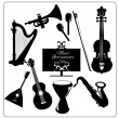 Music instruments black — Stock Vector #55348801
