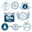 Yachting sketch emblems set — Stock Vector #55349069