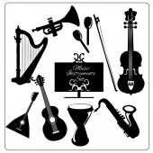 Music instruments black — Stock Vector