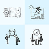 Time management composition sketch — Vector de stock
