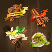 Spices badges set — Stock Vector