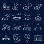 Business and management icons outline — Stock Vector