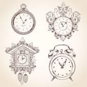 Antigo conjunto de relógio vintage — Vetor de Stock