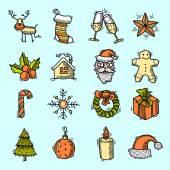 Christmas icons set color — Stock Vector
